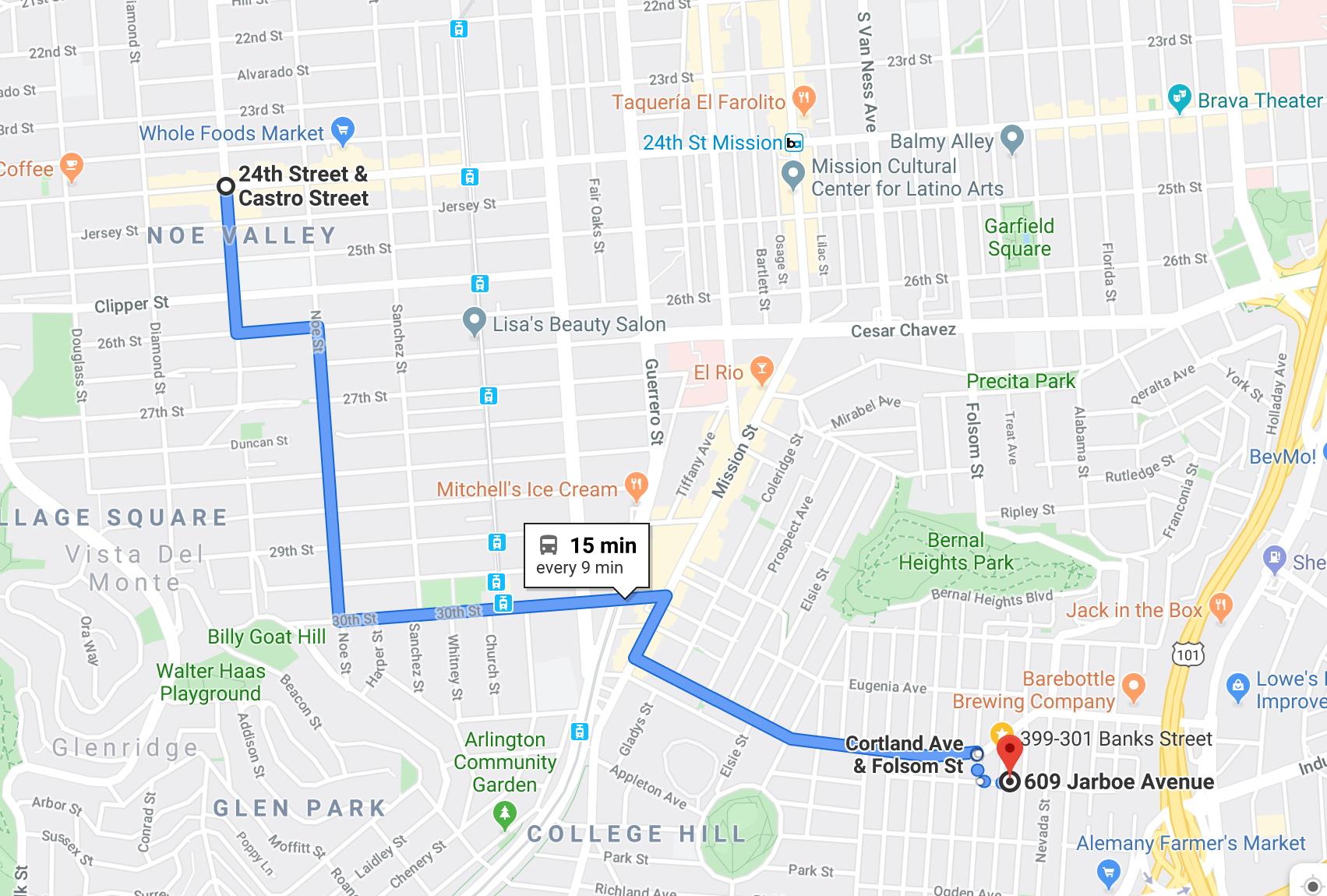 24 MUNI- 24th & Castro to 609 Jarboe Ave